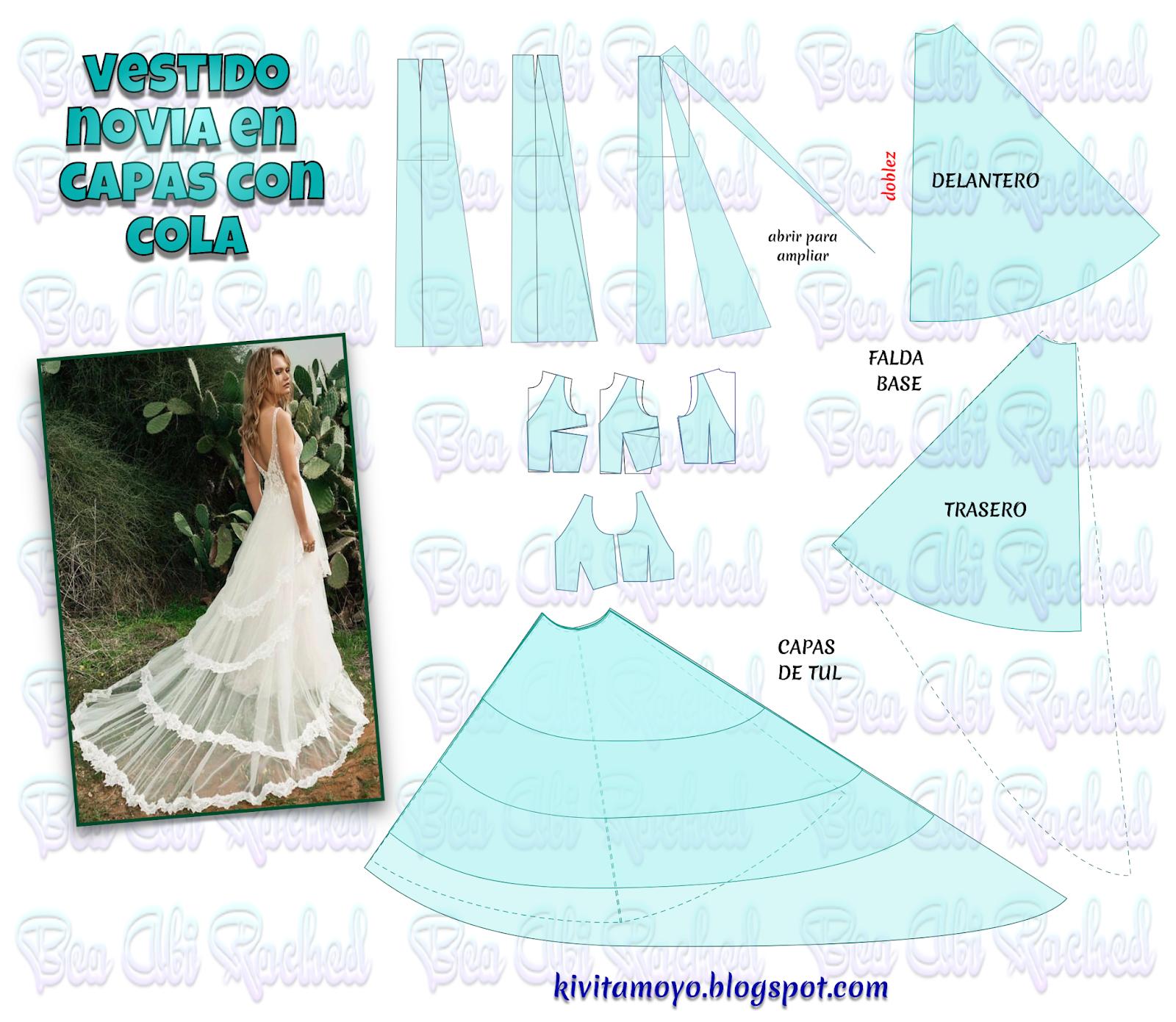 a683665b3 KiVita MoYo   VESTIDO CDE NOVIA EN CAPAS CON COLA Patrones Para Vestidos De  Novia