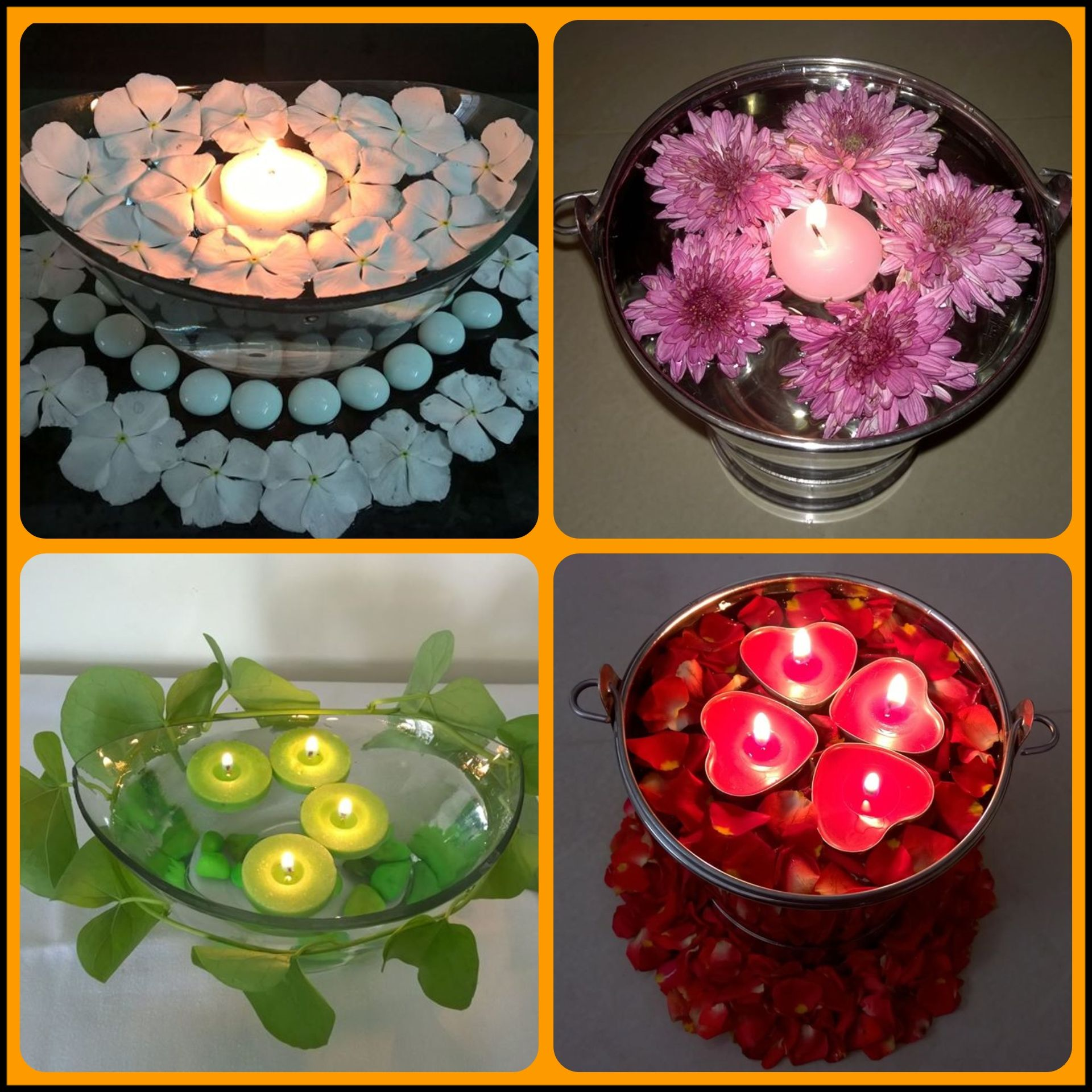 Floating flowers with beautiful candles   Floating flowers, Flower  decorations, Flower candle