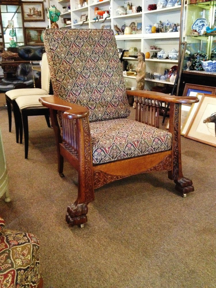 superb antique carved oak claw foot paw ornate recliner morris chair rh pinterest com