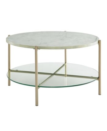 32 inch round coffee table in white faux marble with glass shelf and rh pinterest com