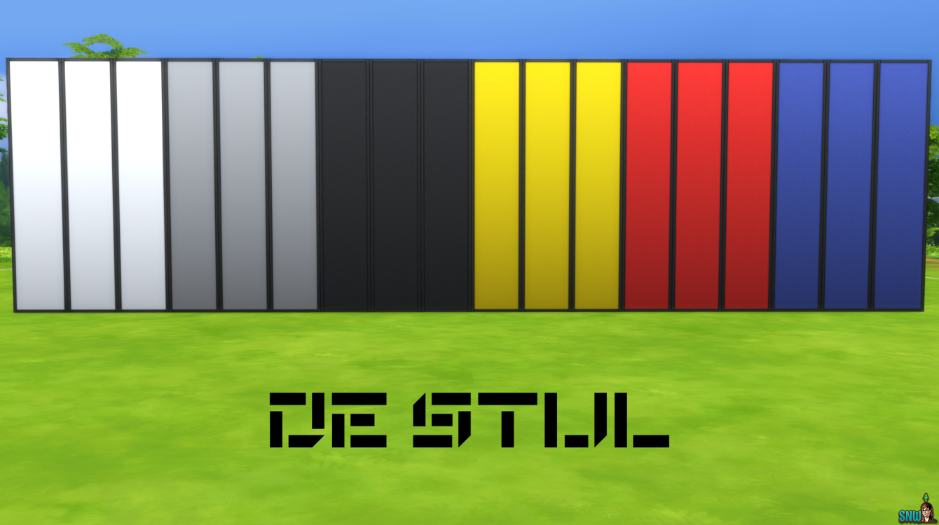De Stijl Wall Panels (Full) #1 for #TheSims4  http://www.simsnetwork.com/downloads/the-sims-4/build/de-stijl-wall-panels-full-1