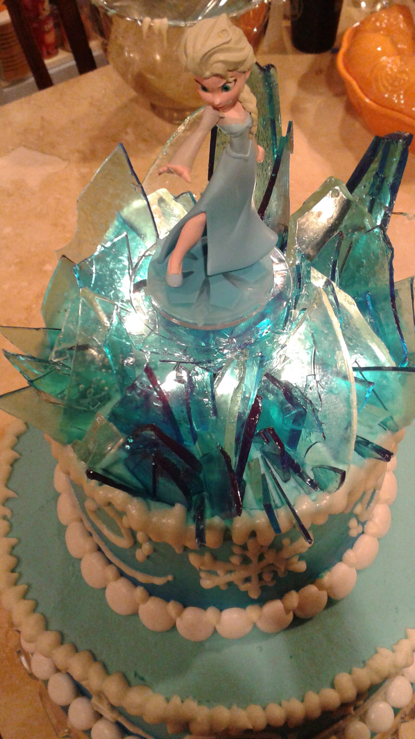 Elsa Frozen Cake Topper With Lighted Icy Shards Birthday 40th