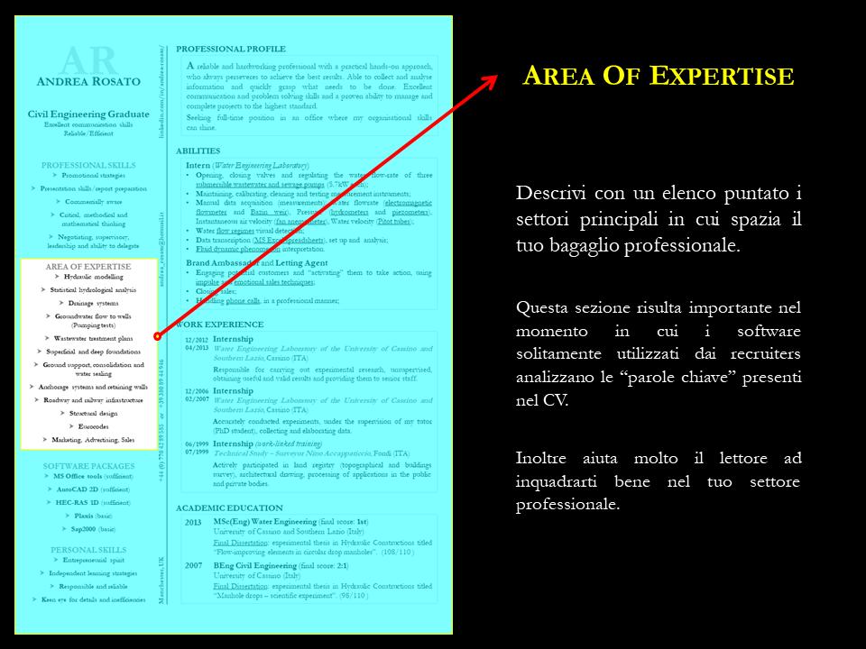 Area of expertise CVRESUME (con immagini) Software