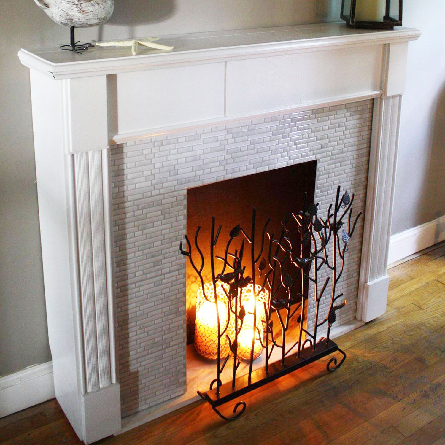 false fireplace with help of candles virtual fireplaces