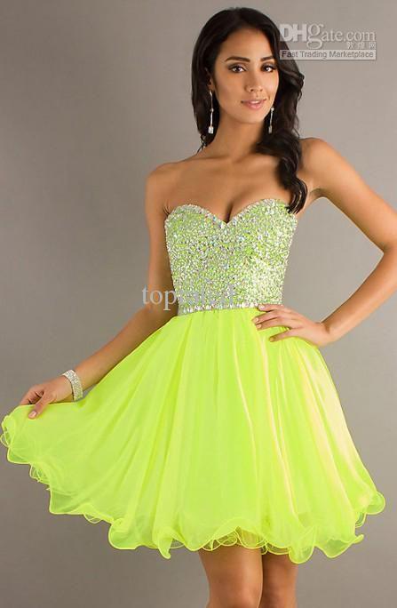 Neon Green Short Prom Dresses | nik prom 17 | Pinterest | Formal ...