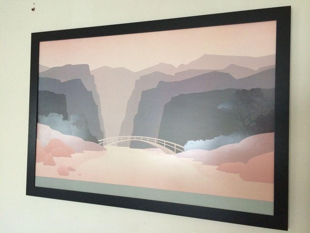 Jeff Kahn - 91x61cm frame - stenciled landscape poster, classic 80\'s ...