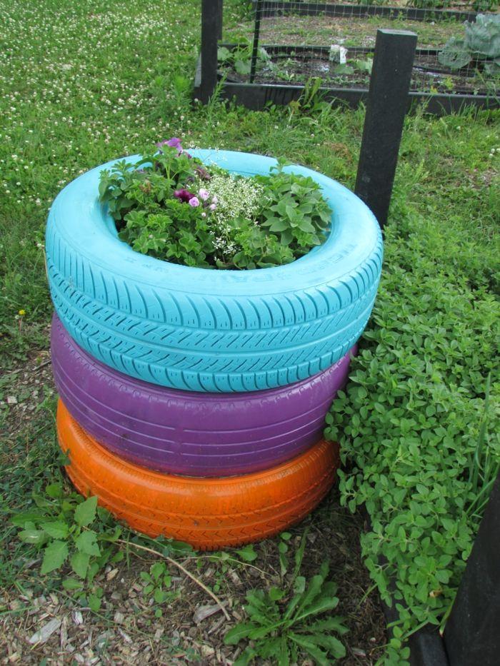 Gartendeko selber machen - Verwenden Sie alte Autoreifen wieder