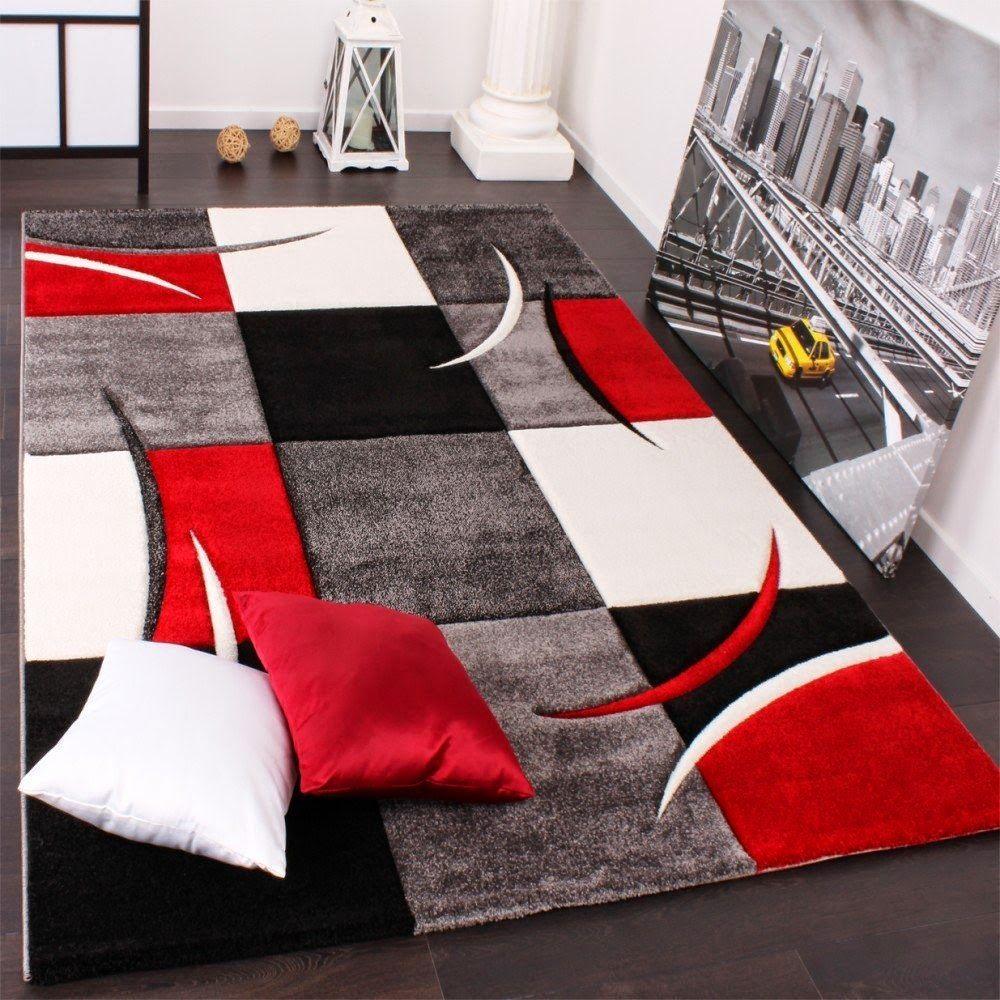 Salon Blanc Noir Et Rouge dedans impressionnant tapis rouge blanc noir design | décoration française