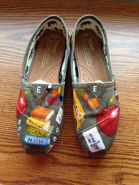 d652056ea564b Handpainted TOMS Shoes- Elementary School TEACHER- Back To School ...
