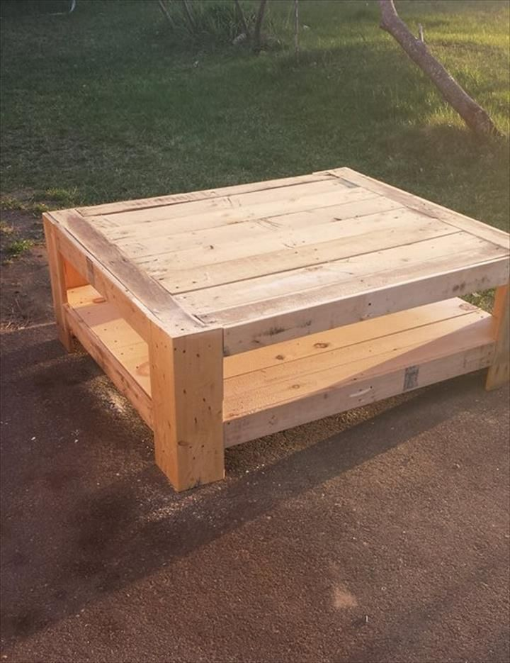 via Upcycled Wood Pallet Coffee Table