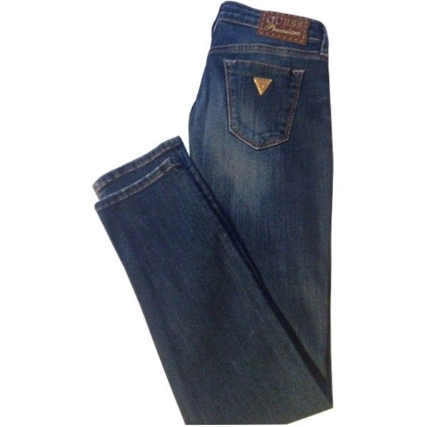 Pre-owned GUESS PREMIUM SLIM JEANS ($95) ❤ liked on Polyvore featuring jeans, slim blue jeans, blue jeans, slim cut jeans, slim fit jeans and guess jeans