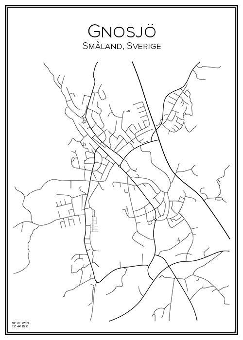 Gnosjö. Småland. Sverige. Map. City print. Print. Affisch. Tavla. Tryck. Stadskarta.