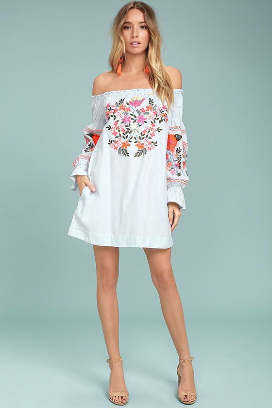 633740cc95045 The Free People Fleur Du Jour Light Blue Embroidered Dress is perfect for  your next OOTD! Lightweight woven cotton with vibrant orange