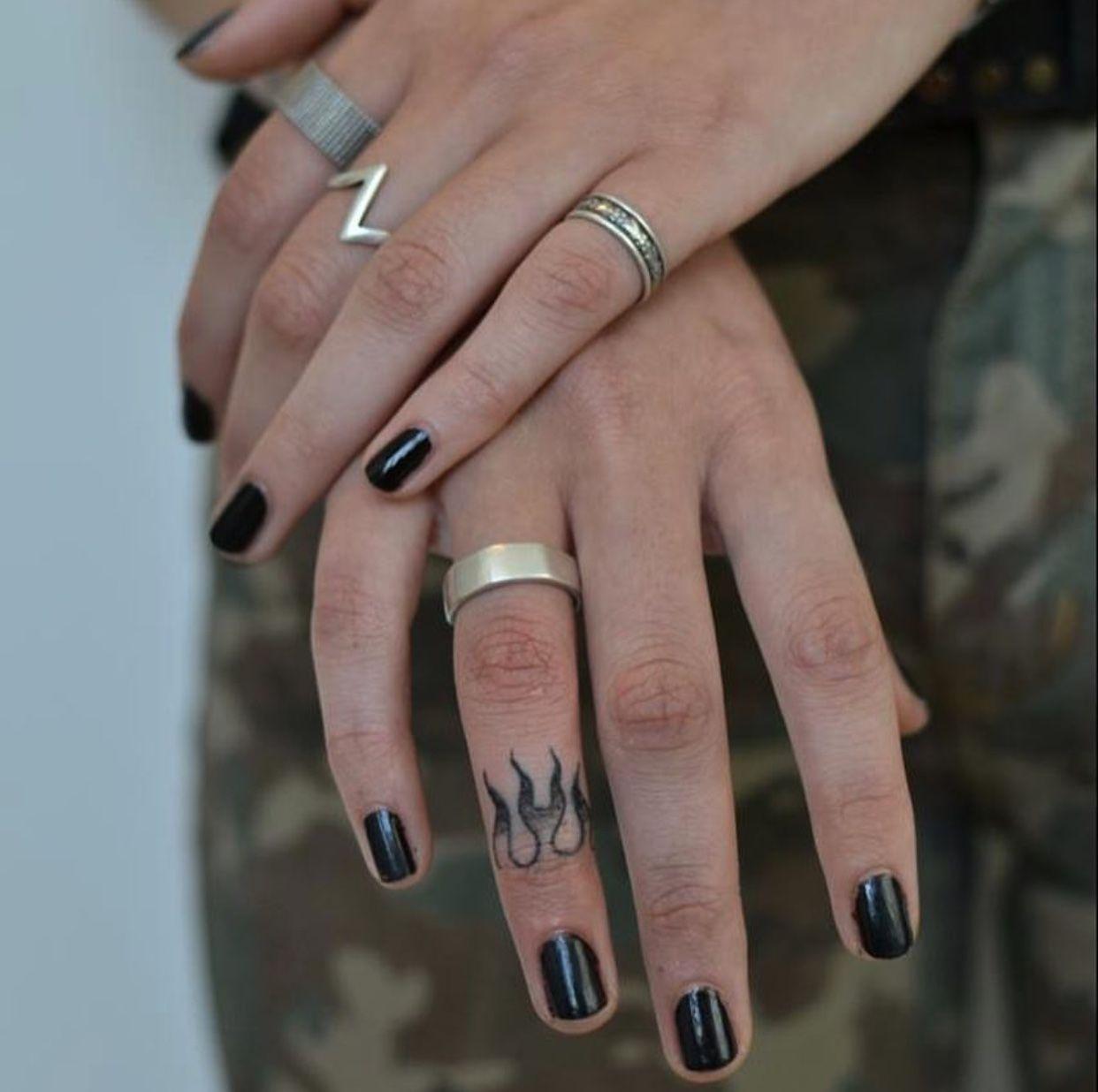 eab3777ac Fire flame finger tattoo | Tattoos | Finger tattoos, Hand tattoos ...