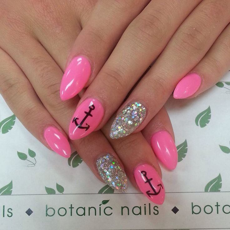 Got pink round almond nails with glitter and anchor design sooo cute. - Fe5b39ffc7cc7e9926c73f922c87eab6.jpg (736×736) Nail Design II