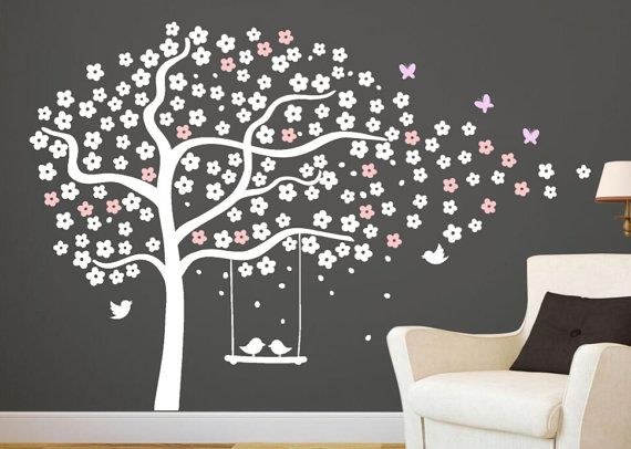 Tree wall decals nursery cherry tree stencil white tree sticker giant tree wall mural tree and - Pochoir mural chambre ...