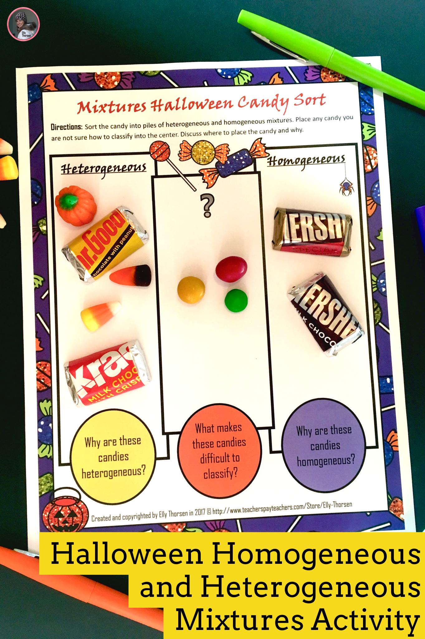 Heterogeneous And Homogeneous Mixtures Science Activity For Halloween Middle School Science Resources Sorting Activities Halloween Science Activities [ 2048 x 1364 Pixel ]