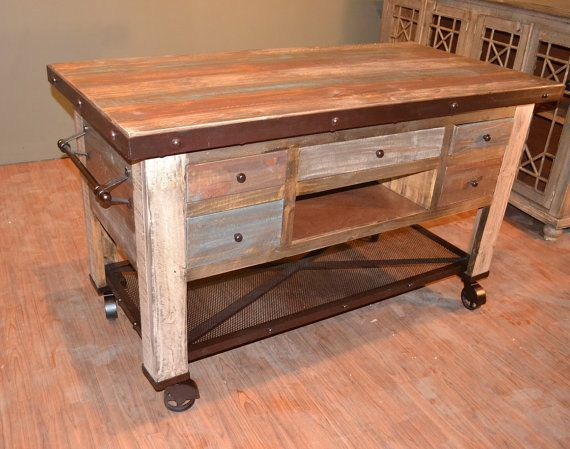 5 Drawer Kitchen Island With Bottom Shelf And Casters Made Of Solid Wood  Hand Rubbed Antique