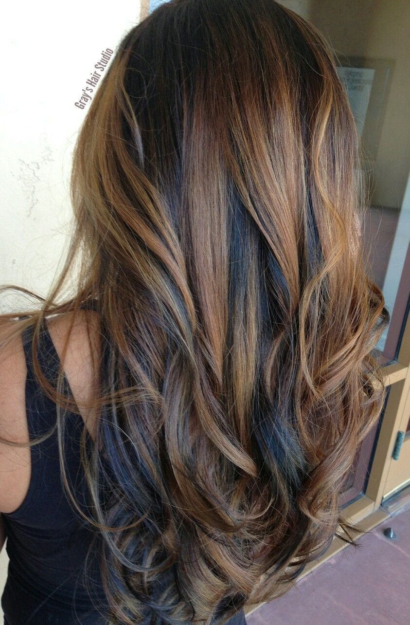 Caramel Balayage And Dark Brown Lowlights Fall Hair Color For Brunettes Dark Hair With Highlights Hair Highlights And Lowlights