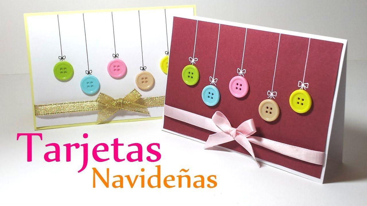 Manualidades para Navidad Tarjetas de NAVIDAD con Botones fcil y