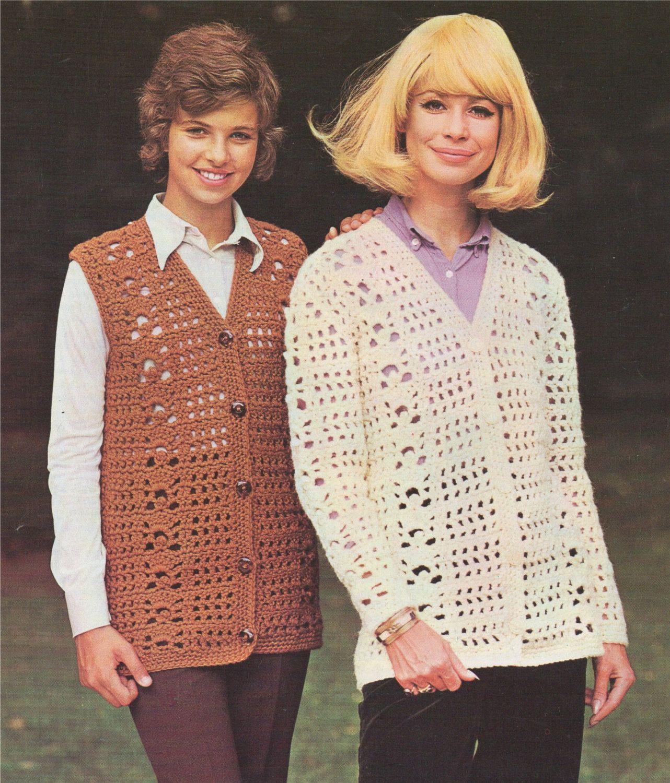 Womens Cardigan and Waistcoat PDF Crochet Pattern : Ladies 30, 32 ...
