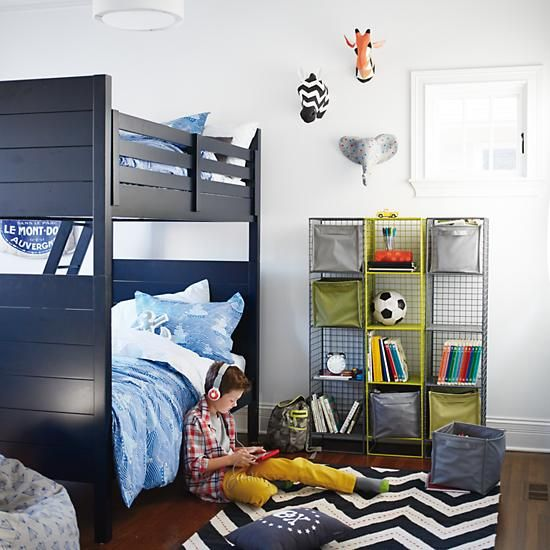 Uptown Bunk Bed Midnight Blue In Beds The Land Of Nod Shared