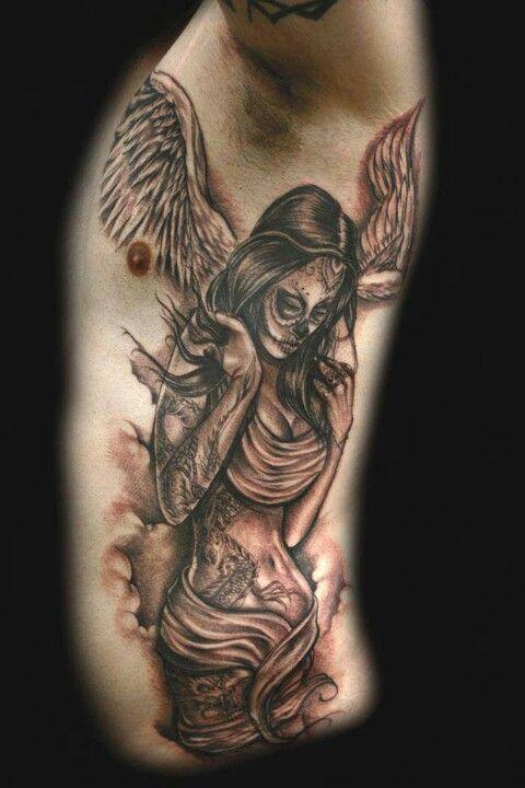 Day of the dead angel tattoos pinterest tattoo for Badass angel tattoos