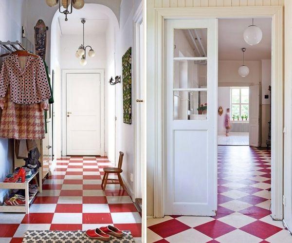 Inspirations Sol Damier Carrelage Rouge Renovation Maison Et