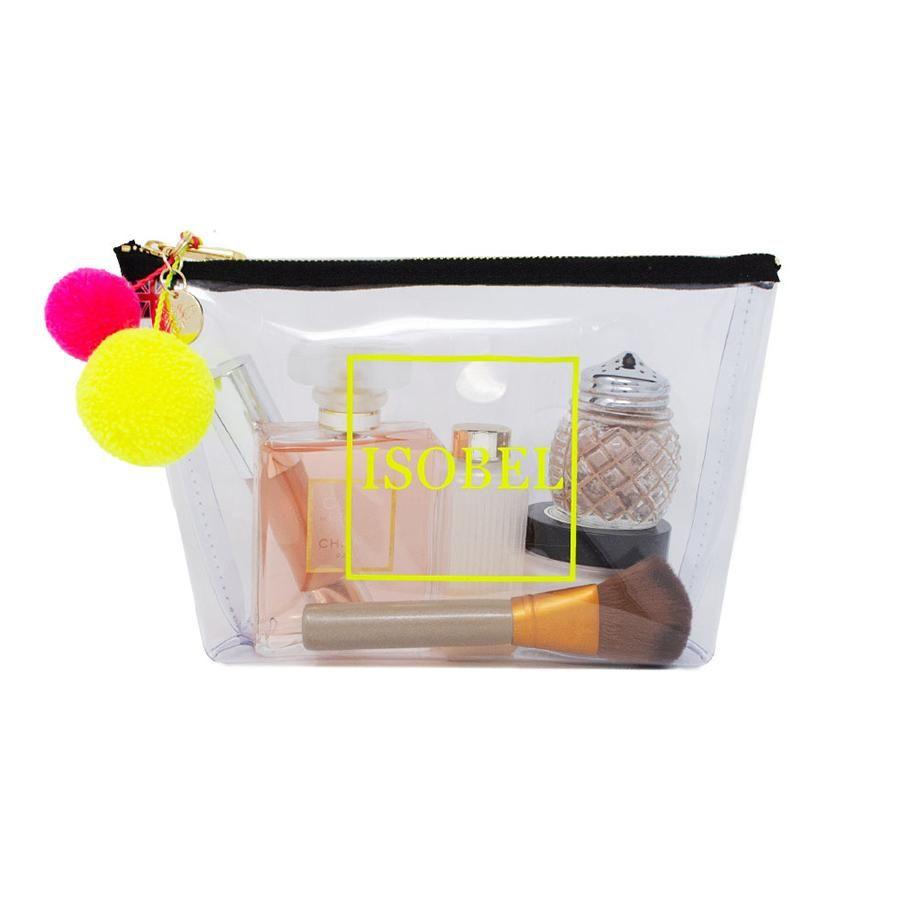 Alicia Medium Clear Make-up-Tasche – Neongelb