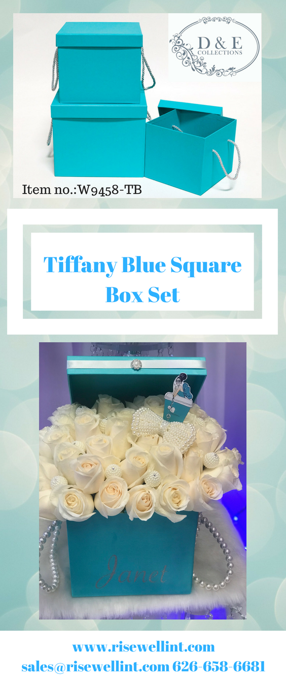 tiffany blue square box set item no w9458 tb flower in a box rh pinterest com