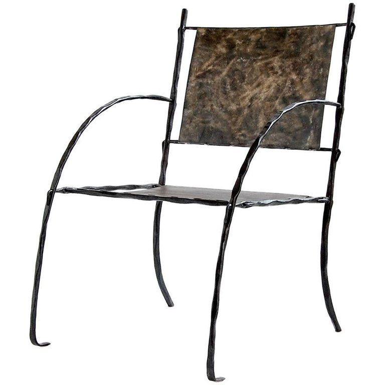 Hand Forged Sculptural Modern Wrought Iron Armchair Side Or