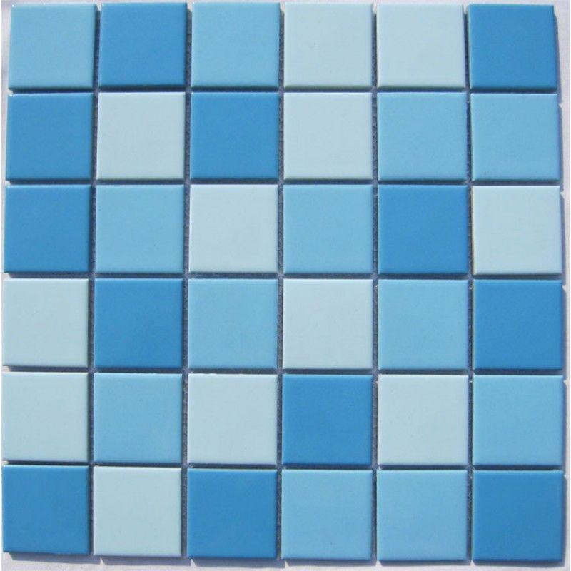 Glazed Porcelain Blue Mosaic Tiles Wall 48mm Ceramic Tile Brick