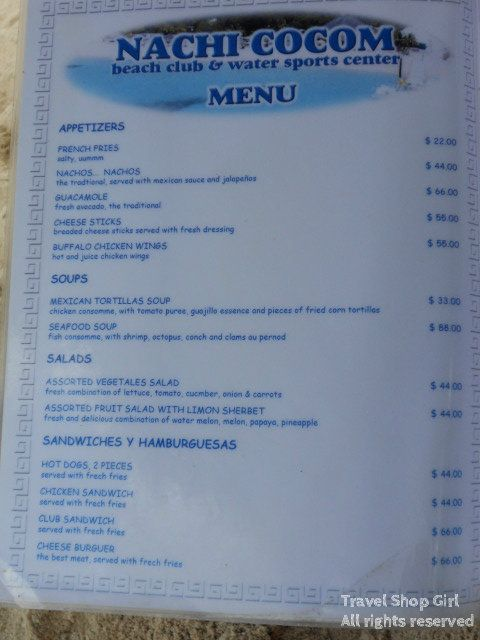 The menu from nachi cocom an all inclusive resort that for All inclusive food and drink resorts