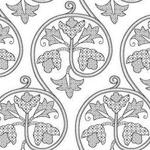 Detailed Elizabethan Scrolling Floral Blackwork by sidney_eileen