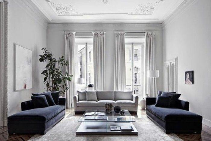 Salon Tres Charmant Et Spacieux Canapes Couleur Bleu Marine Sensation De  Grandeur Deco Blanc Avec Des