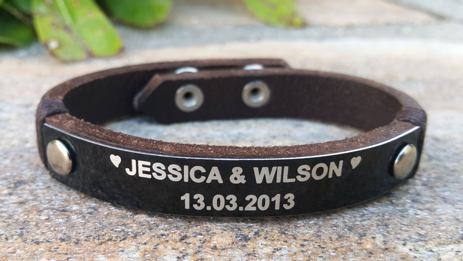 Personalized Leather Bracelet Custom Name Womens Jewelry Black Aluminum Date Plate