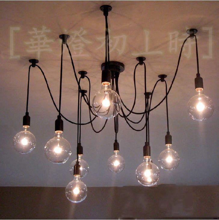 Modern Fashion Retro 10 Arms Edison Filament Bulbs Lamp Holder Pendant Lamps Restaurant Lamp Pendant Light Remote Control Light Bulb Chandelier Vintage Light Bulbs Hanging Light Bulbs