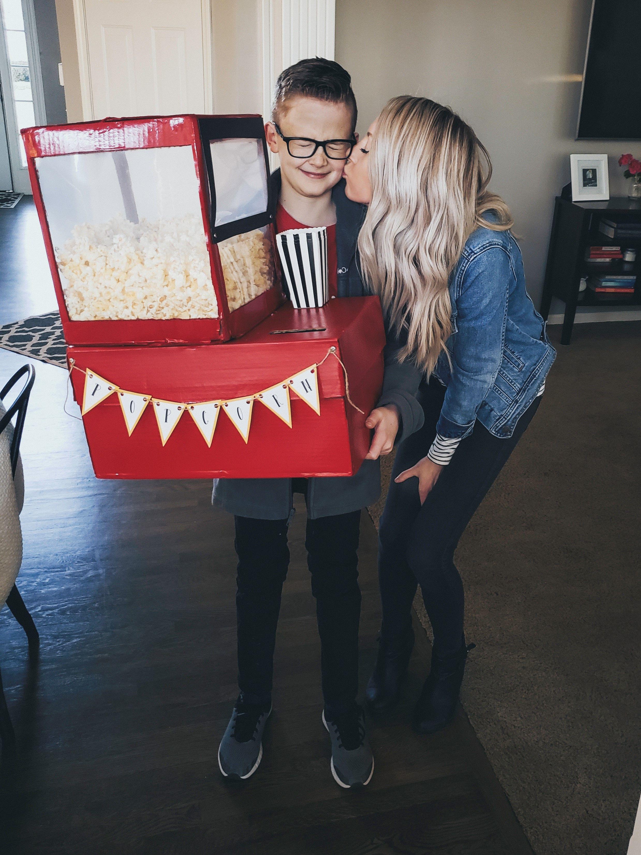 Popcorn Machine Valentine S Box Free Printables Little Blonde Mom In 2020 Valentine Box Popcorn Valentine Kids Valentine Boxes