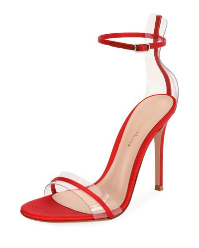 100mm Portofino Plexi Satin Sandals In Red With Images Sandals Heels Plexus Products