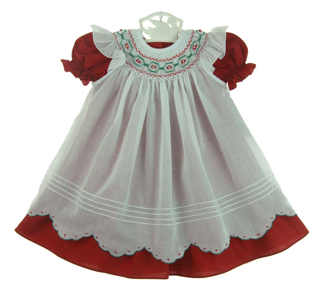 0acc43593975 NEW Will'Beth Red Dress in Short Sleeves or Long Sleeves and White Smocked  Pinafore with Scalloped Hem $70.00