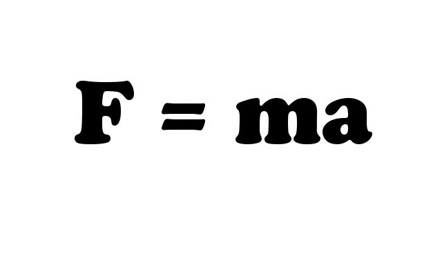 The formula for force is shown as force equals mass times