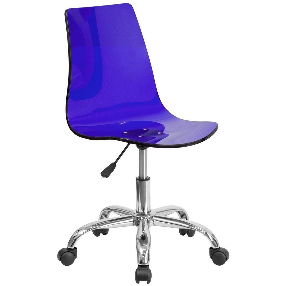 Flash Furniture Contemporary Transparent Blue Acrylic Task