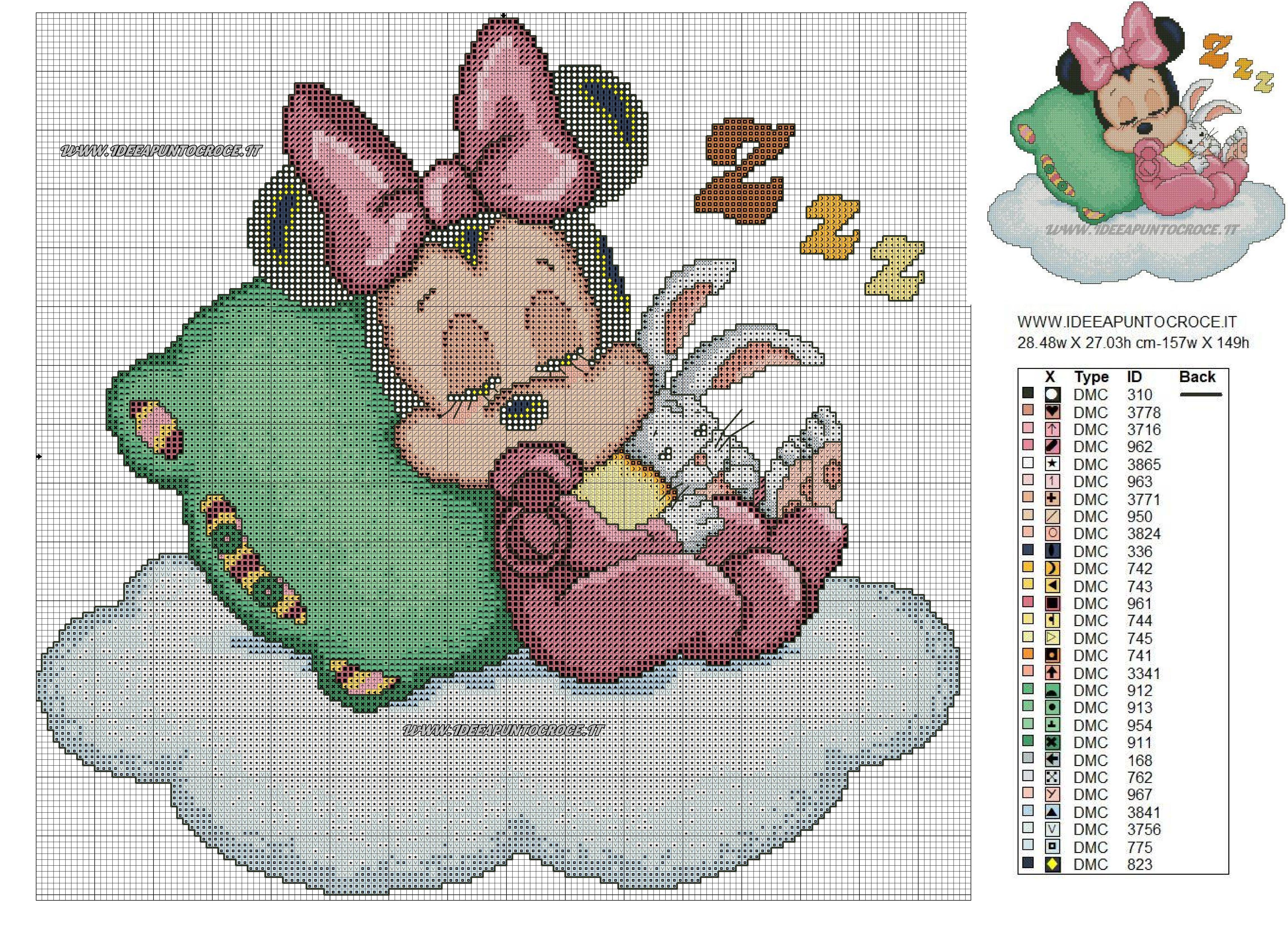Colori Baby Minnie Baby Love 3 Cross Stitch