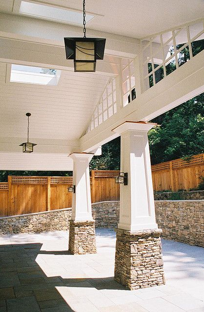 Stone Pillows Supporting Wooden Posts Love The Retaining Wall In The Background Too Carport Designs Craftsman House House With Porch