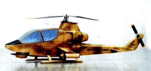 Bell AH-1G Cobra Anti-Tank Helicopter Free Aircraft Paper Model Download