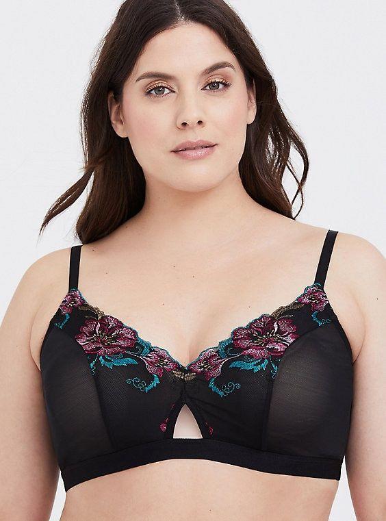 6b3ddc89c2 Plus Size Black Floral Embroidered Mesh Bralette