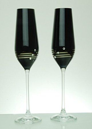 Diamante Nero Platinum Champagne Flutes with Swarovski Elements - Newly Launched: Amazon.co.uk: Kitchen & Home