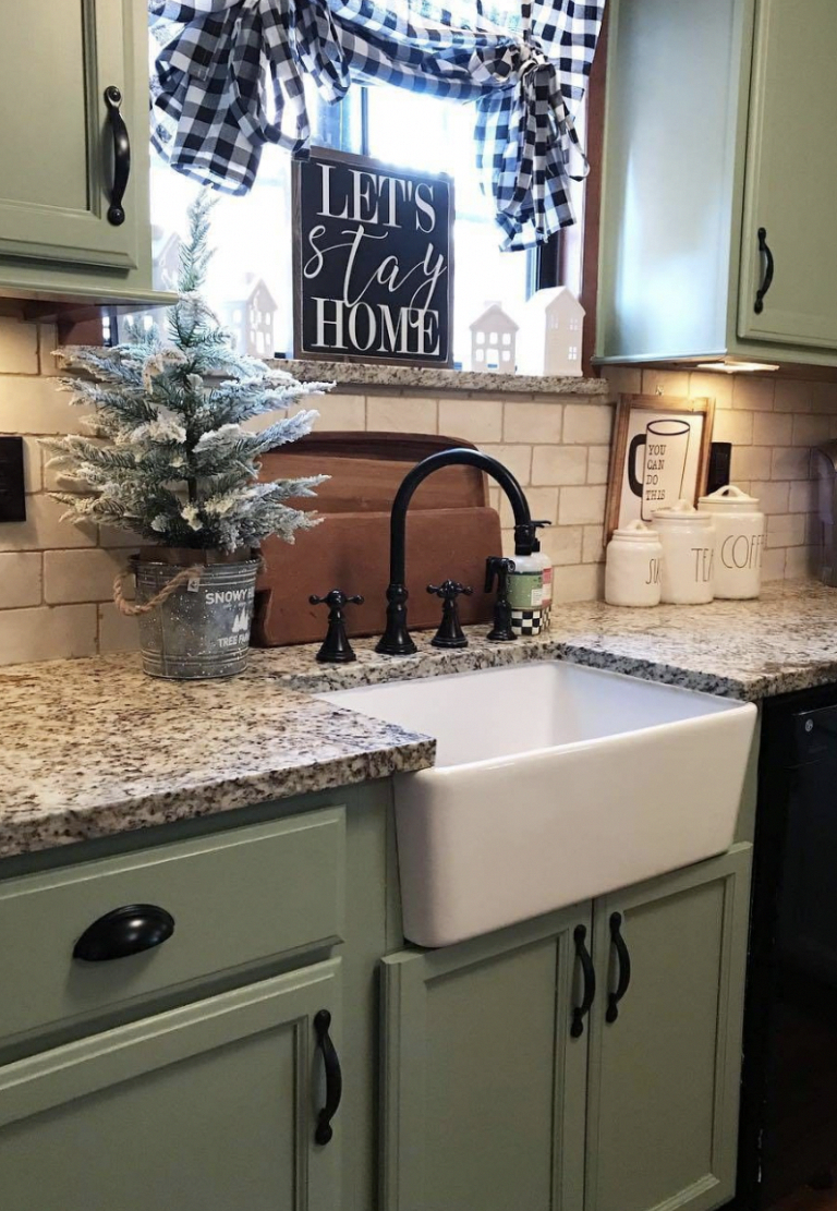 Kitchen Cabinet Refacing In 2020 With Images Diy Kitchen Renovation Green Kitchen Cabinets Rustic Farmhouse Kitchen