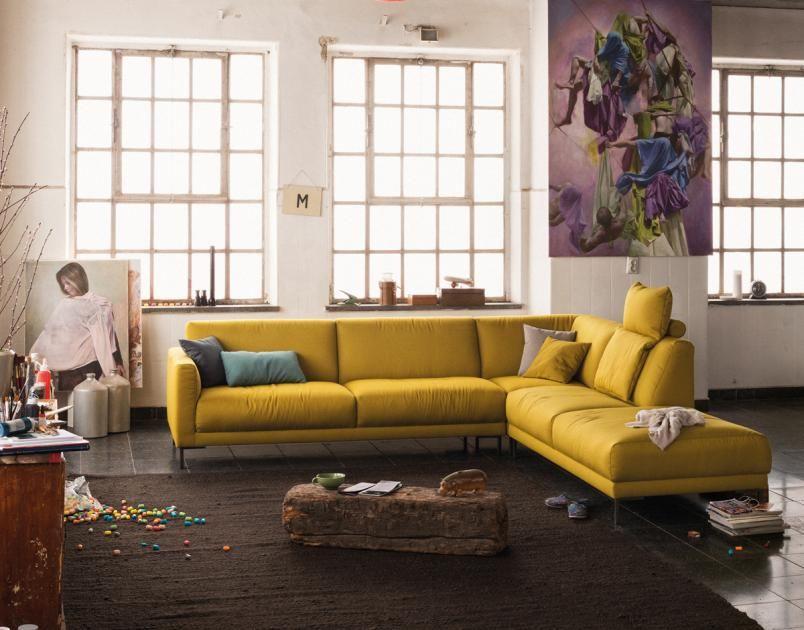 Rolf Schlafsofas sofas in obstfarben bananengelb kirschrot und heidelbeerblau