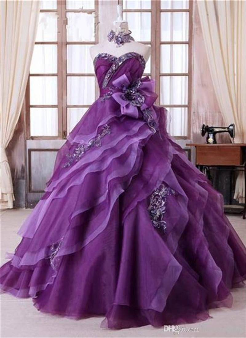 Amazing purple ball gown quinceanera dresses new designer